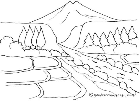 mewarnai gambar pemandangan gunung dan sawah gambar mewarnai