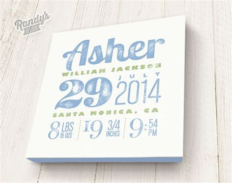 Text Baby Announcement Personalized Birth Announcement Custom Canvas With