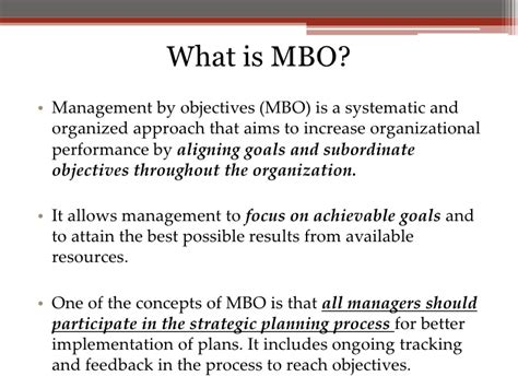 management by objectives template mbo and mbe