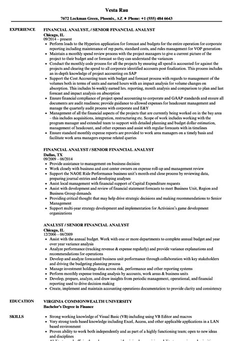 financial analyst resume sle india financial analyst resume image collections cv letter and format sle letter