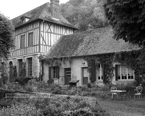 white house france french country house giverny france black and white photograph