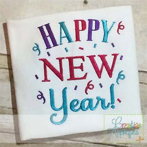 new year machine embroidery designs happy new year digital machine embroidery design 4 sizes