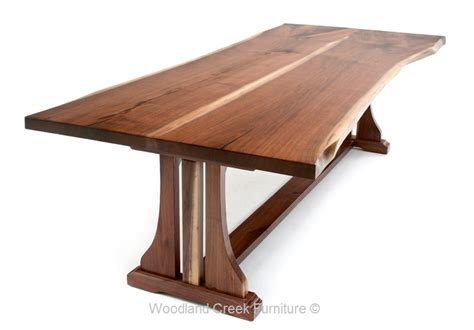 live edge table with trestle base wood dining table
