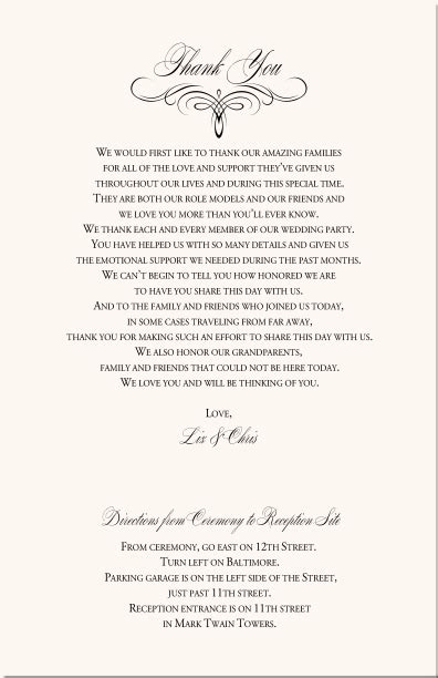 Wedding Ceremony Thank You Wording by Sle Thank You Wording For Wedding Programs Thank You