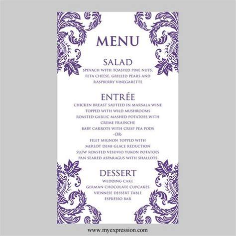 Wedding Menu Card Template Uk wedding menu card template purple damask instant