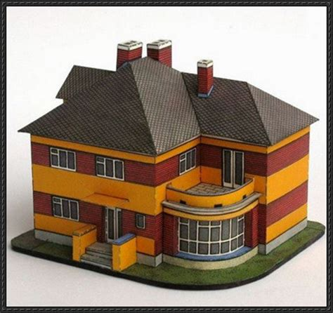 How To Make Paper Models Of Buildings - 1920s european villa free building paper model