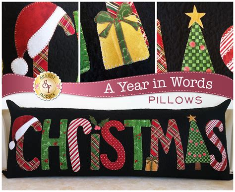 christmas pattern word a year in words pillow pattern december