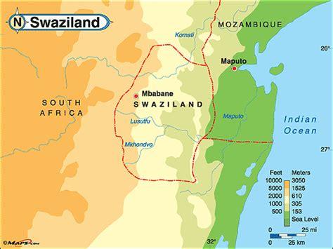 swaziland map swaziland geographischen karte