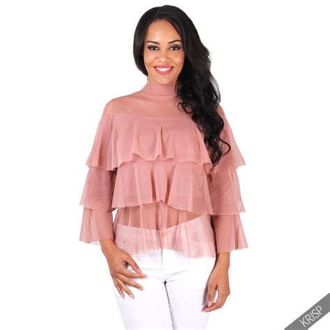 Blouse 7 8 Sleeves womens disco ruffle frill mesh bell sleeve pleatead blouse top 4 10 ebay