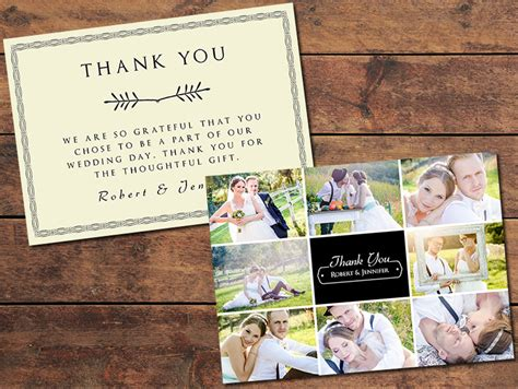 wedding photo thank you card template free print templates wedding thank you cards collage thank