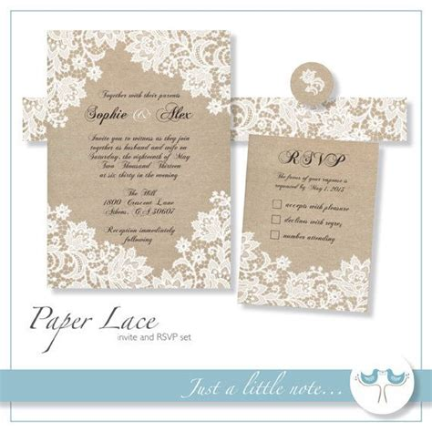 printable invitation paper paper lace 5x7 invitation and rsvp set digital printable