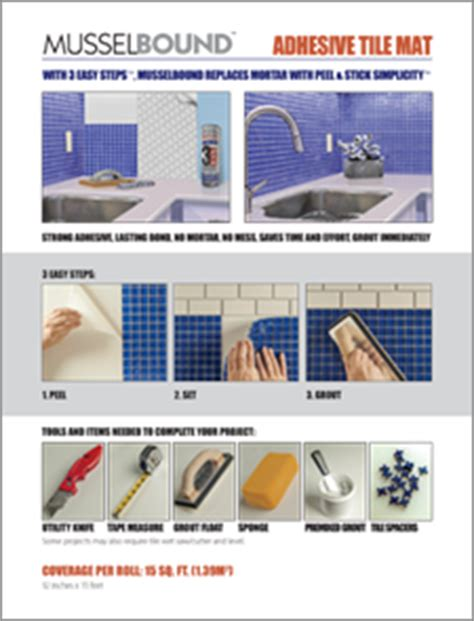 printable tile instructions musselbound adhesive tile mat installing the musselbound