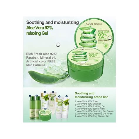 Nature Republic Aloe Vera 92 Soothing Gel 300ml nature republic soothing gel aloe vera 92 300ml skincare
