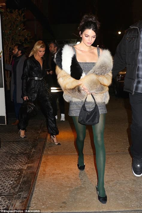 Ny Fashion Week Aw08 Coloured Tights by Nyfw Kendall Jenner Pairs Plaid Mini Dress And Fur Coat