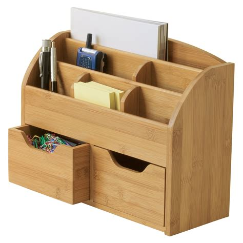 Desk Storage Accessories Lipper Bamboo Space Saving Desk Organizer At Hayneedle
