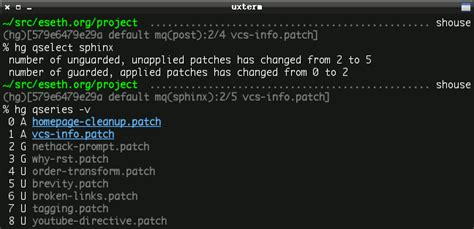 www eseth mercurial info in your zsh prompt