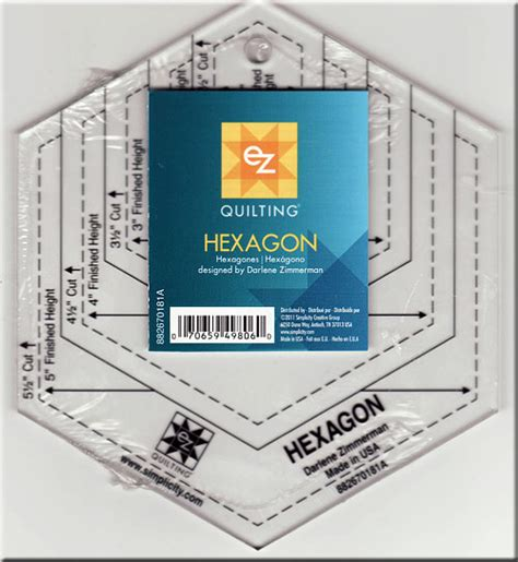 hexagon ruler templates hexagon ruler 5 1 2 quot from ez quilting
