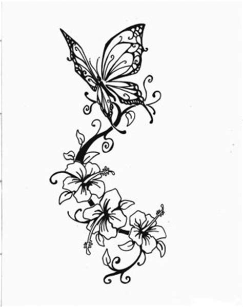 Butterfly And Hibiscus Flower Pic Tattoo || Tattoo from
