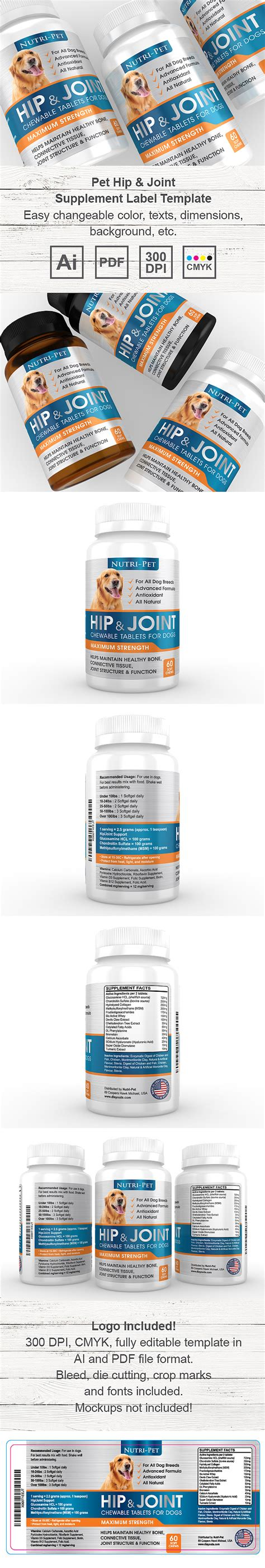 dietary supplement label template pet hip joint supplement label template
