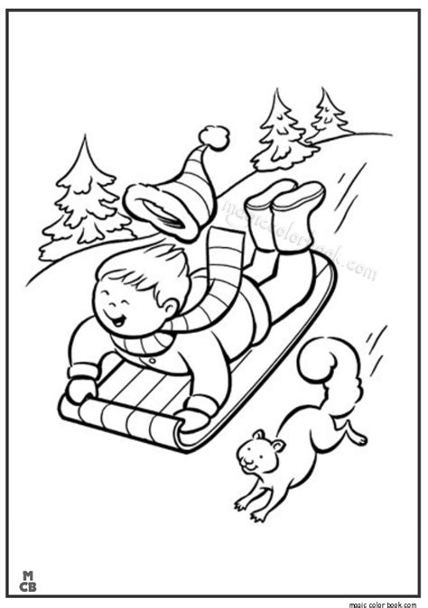 kid sledding snow winter coloring pages winter online