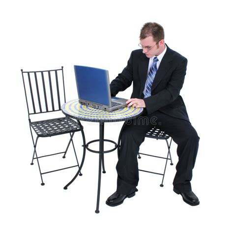 attractive computer attractive business in suit with computer stock photo