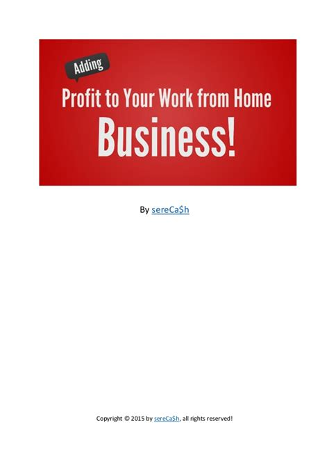 Online Business Work From Home - adding profit to your work from home internet business