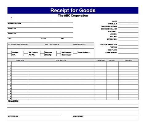 acknowledgement receipt template excel receipt for goods receipt for goods template