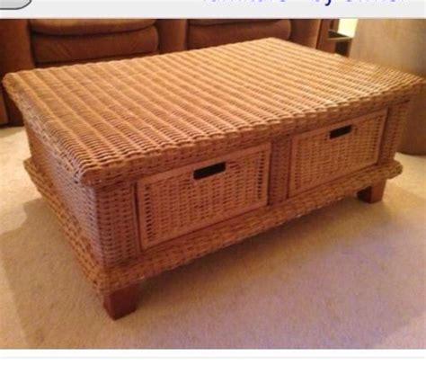 isles wicker coffee table with storage baskets