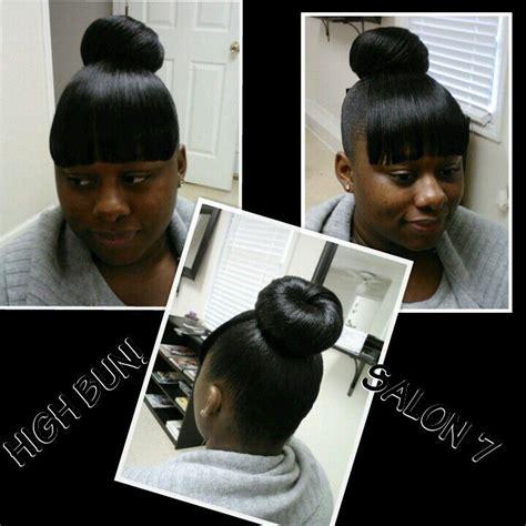 how to make a bun and bang with weave high bun w chinese bang my salon work pinterest buns