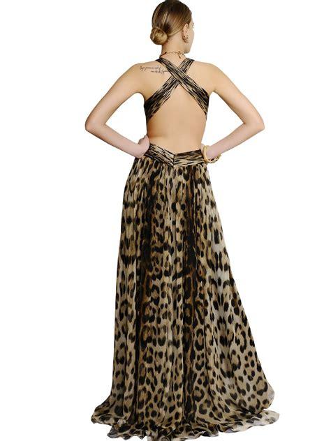 Leopard Chiffon Dress lyst roberto cavalli leopard silk chiffon dress