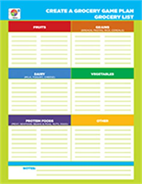 make a grocery list | choose myplate