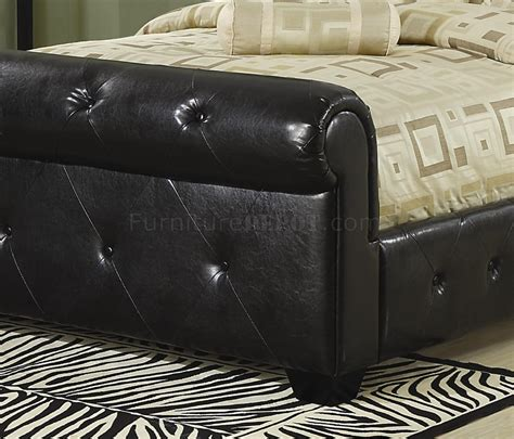 Black Leather Sleigh Bed 304240 Upholstered Sleigh Bed By Coaster In Black Faux Leather
