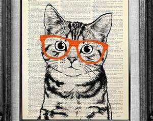 Decorative art cat art wall hangin g cat print cat poster art print