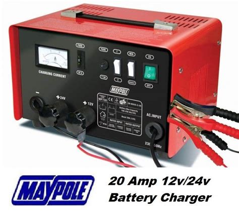 tractor battery charger maypole heavy duty steel 20 12v 24v car tractor