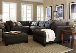 Livingroom Sectionals Cindy Crawford Metropolis Slate 3pc Sectional Living