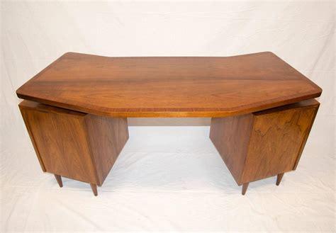 curved writing desk midcentury walnut curved desk floating top at 1stdibs