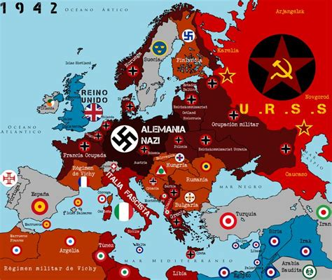 map of europe 1942 occupied europe in 1942 ww ii mundial