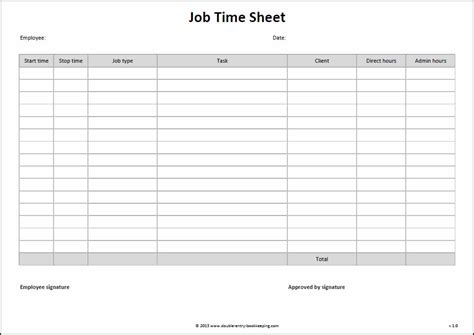 work time card template time sheet template entry bookkeeping