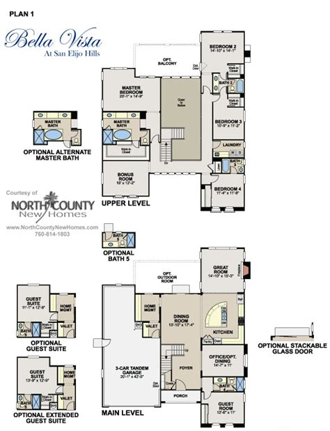 bella vista floor plans floor plan 1 at bella vista in san elijo hills new homes