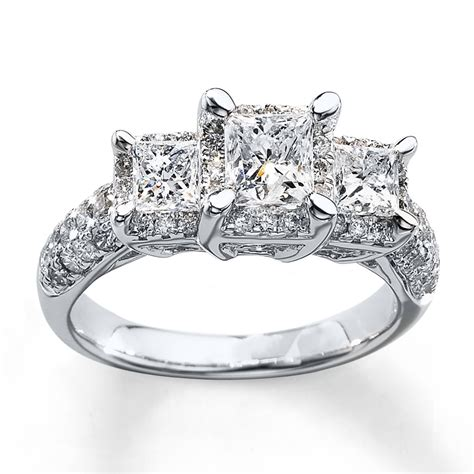 3 ring 2 ct tw princess cut 14k white gold