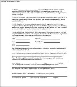 background check authorization form template exle of background check authorization form sle