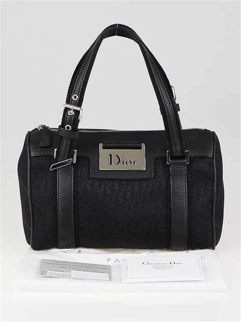 Diorissimo Boston Bag by Christian Black Diorissimo Canvas Small Boston Bag