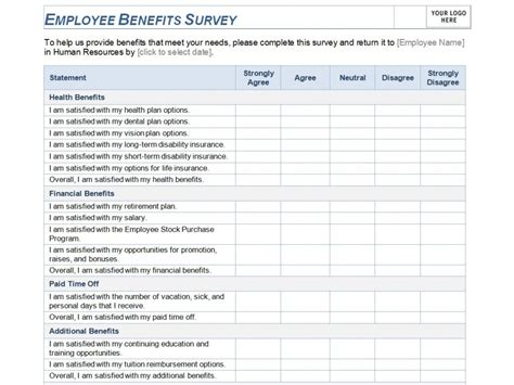 employee benefits survey template employee benefits