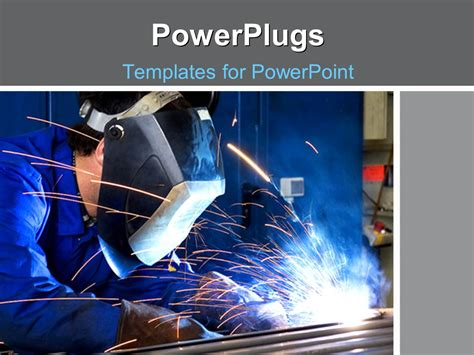 powerpoint template a person welding the rods with bluish