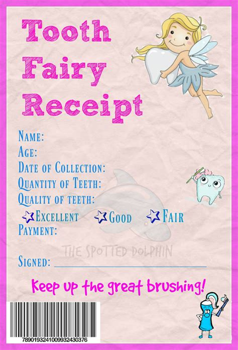 printable card from tooth fairy printable tooth fairy receipt digital file by