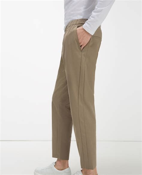 zara trousers with elastic waistband zara elastic waist trousers in for lyst