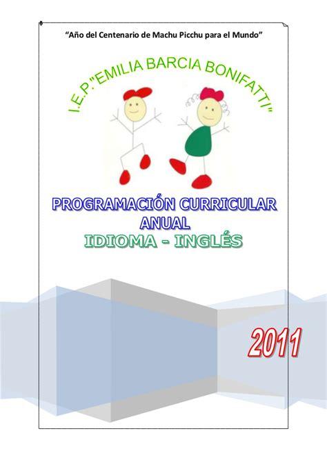 programacin curricular anual de ingles y unidades de jornada escolar completa programacion curricular anual ingl 233 s