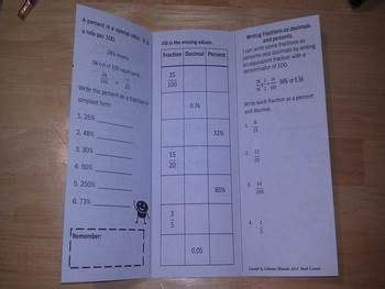 Percents Fractions And Decimals Print N Fold Foldable