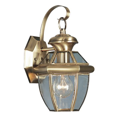 Vintage Outdoor Light Fixtures Monterey Antique Brass One Light Outdoor Fixture Livex Lighting Wall Mounted Outdoor Out