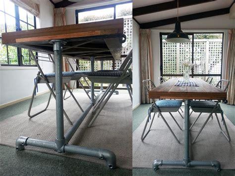 diy table legs nz industrial dining table timber top pipe legs felt